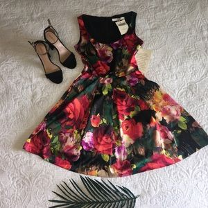 Boston Proper Red floral full dress